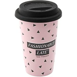 Sweet Tooth Fashionably Late Ceramic Coffee Tea Cup Travel Mug