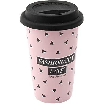 Sweet Tooth Fashionably Late Ceramic Coffee Tea Cup Travel Mug