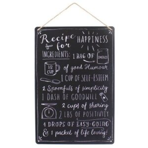 Medium Metal Recipe For Happiness Plaque