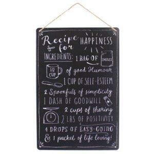 Medium Metal Recipe For Happiness Plaque