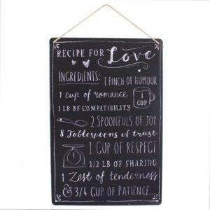 Medium Metal Recipe For Love Plaque