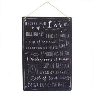 Medium Metal Recipe For Love Plaque