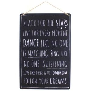 Medium Metal Sentiment Wall Plaque Reach For The Stars