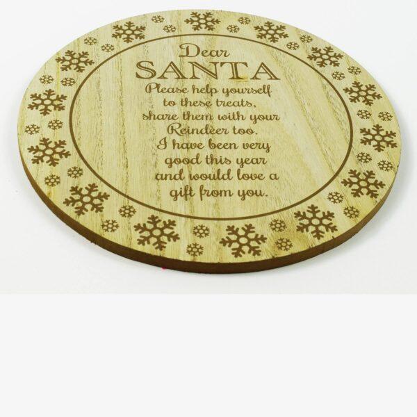 Wooden Santa Treat Plate Christmas Eve