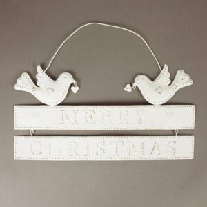 Sass & Belle Merry Christmas Perched Birds White Metal Hanging Sign