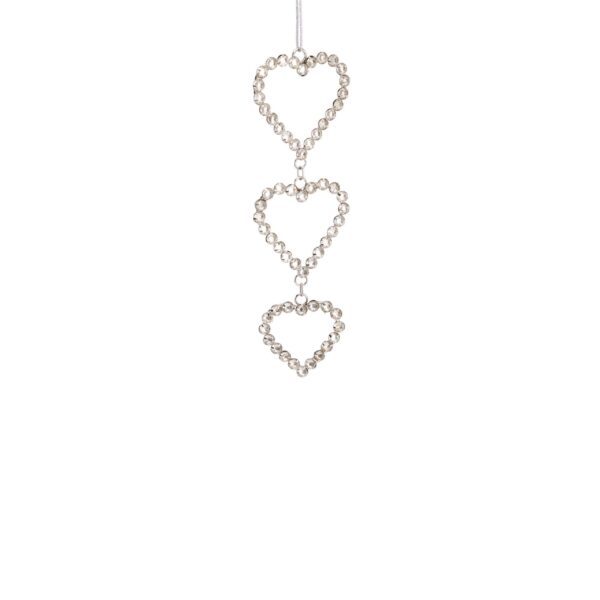 Triple Sparkle Crystal Heart String Hanger