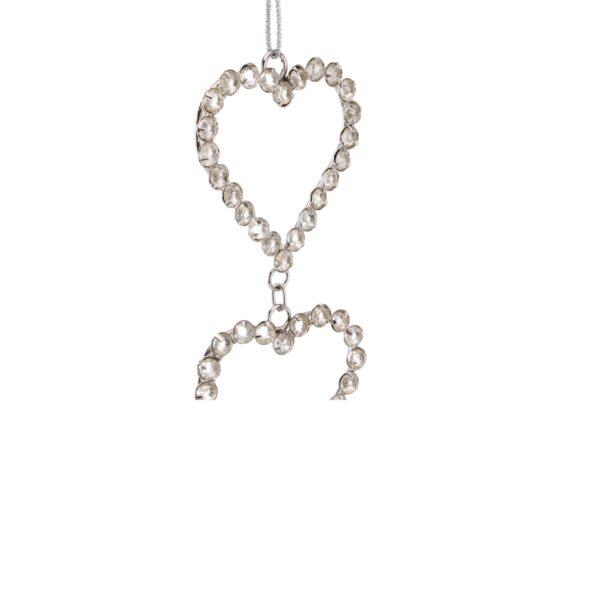 Triple Sparkle Crystal Heart String Hanger