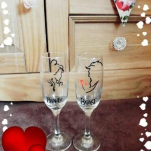Beauty & Beast Champagne Glasses