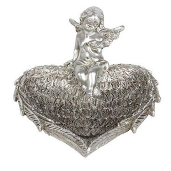 Antique Silver Cherub Wing Jewellery Dish