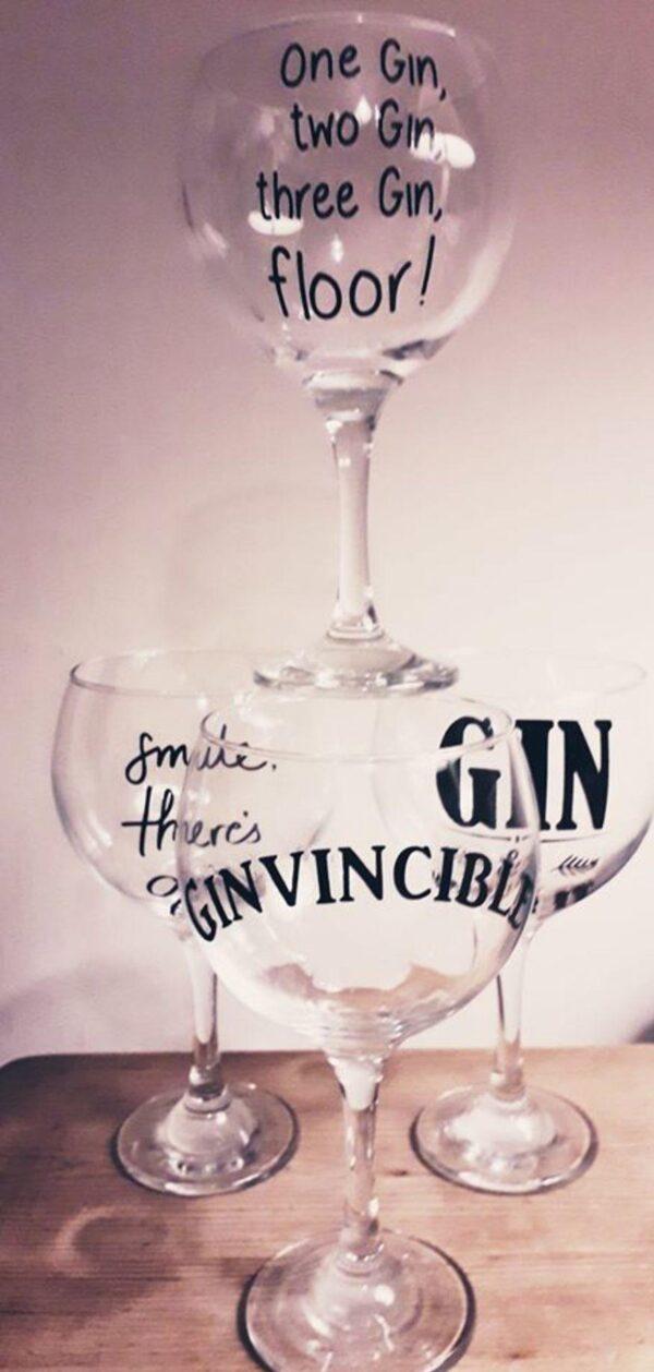 Bespoke Slogan Gin Glasses