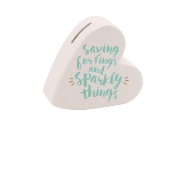 Saving For Rings & Sparkly Things Heart Money Box