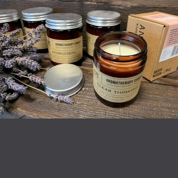 Soy Wax Natural Aromatherapy Candle - Positive Vibes Clary Sage & Peppermint