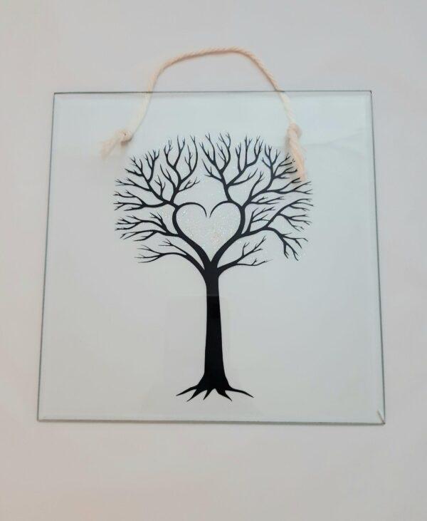 Tree glass plaque